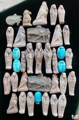 Ancient Egyptian Antiques Rare 35 Amulets Egypt Faience Stone 1816 BC