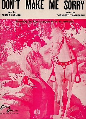 TEX RITTER sheet music DON'T MAKE ME SORRY (1948)