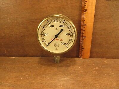 Vintage Brass & Glass Case MOTO Gauge USE NO OIL Industrial Steampunk Preasure