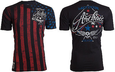 ARCHAIC by AFFLICTION Mens T-Shirt NATION American Custom USA FLAG Biker $40 c
