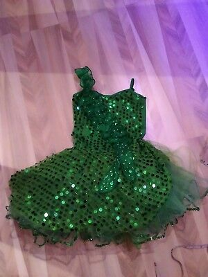Sequin sparkling green ice skating dance dress costume age 6-8