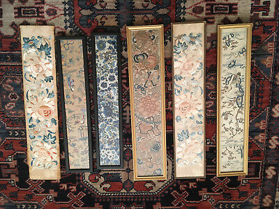 6 Antique Chinese Brocade Embroided Panels 18Th-19Thc Fabulous Work