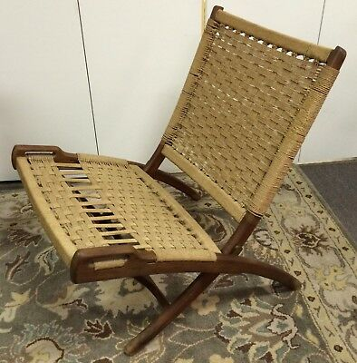 Sensational Hans Wegner Style Folding Rope Chair Mid Century Danish Ocoug Best Dining Table And Chair Ideas Images Ocougorg