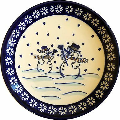 "Boleslawiec Polish Pottery Christmas Breakfast, Salad or Dessert Plate ""Snowman"""