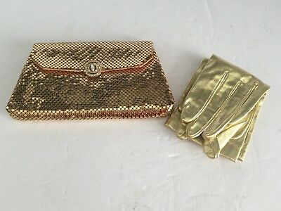 Vintage Whiting & Davis Gold Mesh Clutch Purse Bag with Metallic GLOVES 1950s