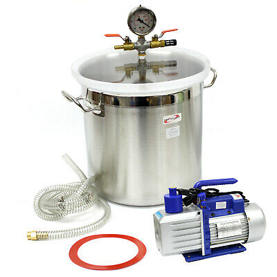 5 Gallon Vacuum Degassing Chamber Silicone Kit & 5 CFM Single Stage Pump Hose