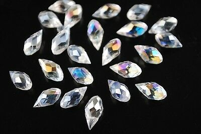 20pcs 12x6mm Teardrop Crystal Glass Loose Beads Pendant Clear  AB free postage
