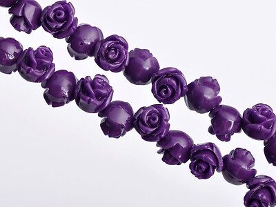 20pcs 8mm Resin Retro Rose Flower Charm Carved Loose Spacer Beads Deep Purple