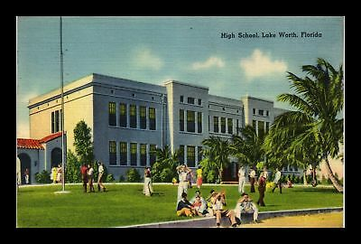 Dr Jim Stamps Us High School Lake Worth Florida Linen View Postcard