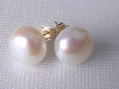 10.5Mm Genuine White Freshwater Pearl Stud Earrings Solid 14K Yellow Gold