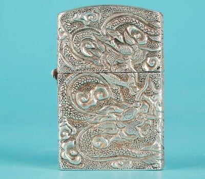 Vintage Chinese Old Silver Lighter Case Handmade Dragon Collection Gift