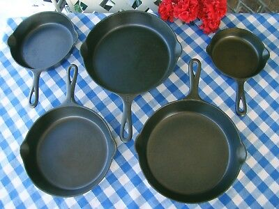 Griswold Cast Iron Large Block 5 Piece Skillet Set – #3, #5, #6, #7, and #8