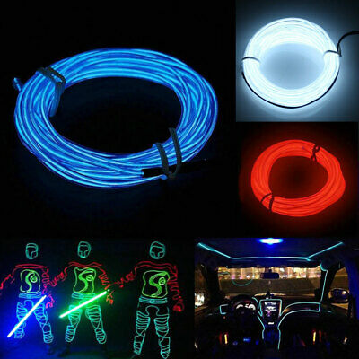 LED EL Wire Neon Glowing Rope Car Dance Party Flash Light Strip w/ Controller