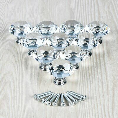 10Pcs Crystal Glass Clear Door Knob Drawer Cabinet Furniture Kitchen Handle Pull