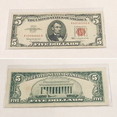 1963 Five dollar red seal, United States note circulated in excellent condition