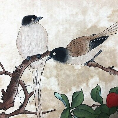 Chinese Antique Rare Collectible Paper Handwork Bird & Peach Blossom Painting