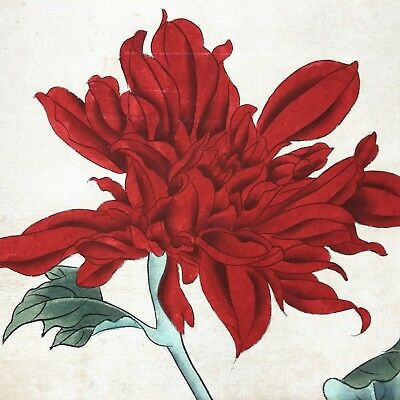 Chinese Antique Rare Collectible Old Paper Handwork Red Flowers art Painting