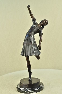 "Signed Chiparus Dancer Bronze Marble Statue Sculpture 22"" Tall Figurine Art Deco"