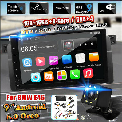 9'' Android 8.0 Autoradio GPS Navi DAB + OBD WiFi Für BMW 3 Series E46 M3 Camera