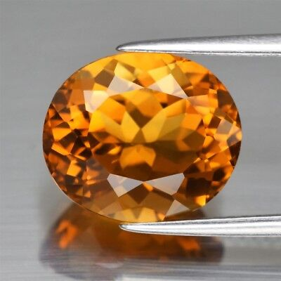IF Clean! 5.74ct 12.5x10.7mm Oval Natural Orange Citrine, Brazil