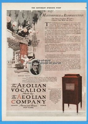 1918 Aeolian Co New York Vocalion Record Phonograph Giulio Crimi Art Deco Ad
