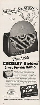 1951 Crosley Riviera Portable Radio 3 Way Pace Setting Designs Print Ad