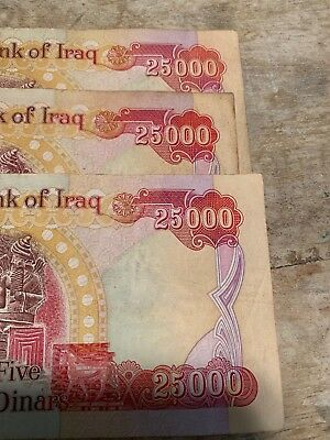 75,000 IRAQI DINAR (3) 25000 Notes (IQD) OFFICIAL IRAQ CURRENCY - FAST DELIVERY