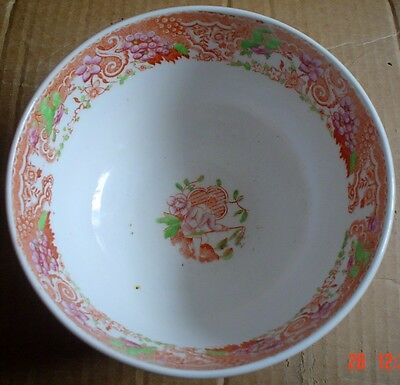 Old Oriental Bowl In Orange And White People Pergoda's And Flowers