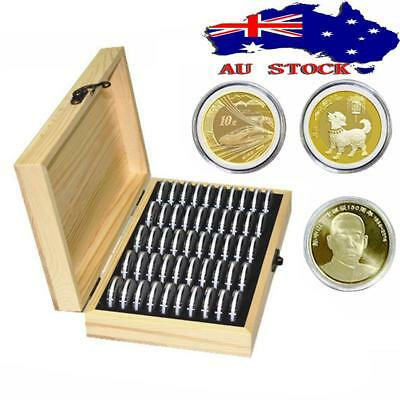 AU 50 Grid Wooden Round Case Coin Capsule Storage Holder Box Display Container
