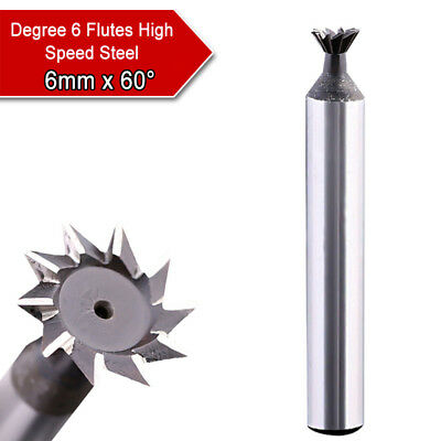 6/8mm x 60° HSS Dovetail Cutter End Mill Milling Speed Steel Router Bits Tools