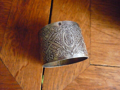 Antique French Sterling Silver Napkin Ring Guilloche  Engraved Details