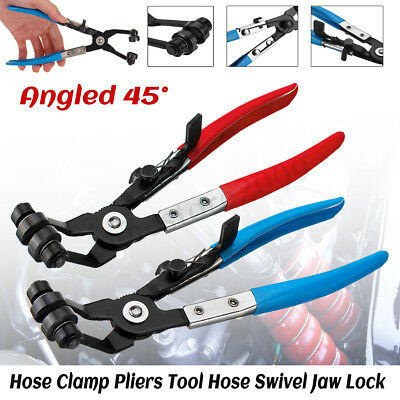Angled 45° Pipe Hose Clamp Pliers Tool Fuel Coolant Hose Swivel Jaw Locking Clip