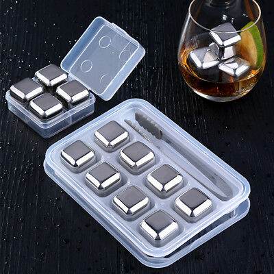 4/8Pcs Stainless Steel Ice Cubes Reusable Whiskey Wine Drink Chilling Stones New