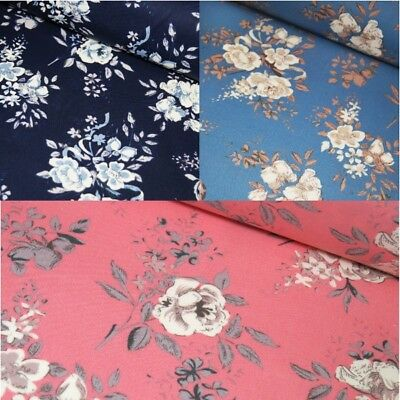 100% Cotton Poplin Fabric Rose & Hubble Bells Flowers Petals Floral Leaves