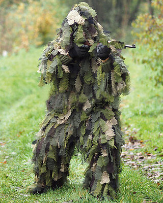 Tarnparka Ghillie Suit Roble Leaf 3D 3 Pc Woodland, Paintball -nuevo