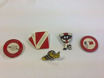 5 Arsenal FC enamel pin badges-Great condition.