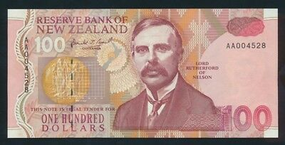 "New Zealand: 1992 $100 Brash Type I RARE 1ST PREFIX ""AA"". Pick 181a UNC"