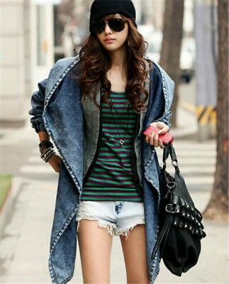 Girls Spring Oversized Denim Jacket Trench Hooded Loose Casual Outerwear Cost LG
