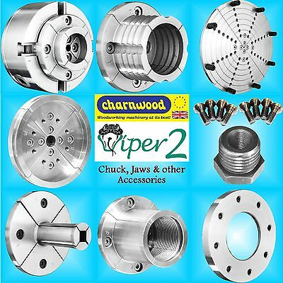 Charnwood Viper2 Geared Scroll Lathe Chuck jaws face bowl plate pin dovetail
