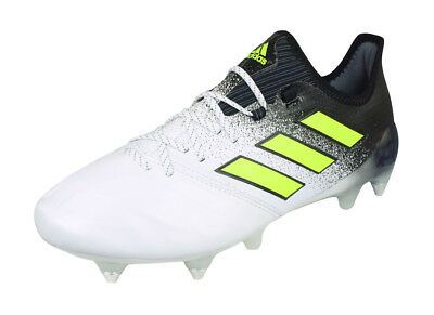 8b9637ad ADIDAS ACE 17.1 SG Mens Leather Soccer Cleats Ankle Football Grass White  Black