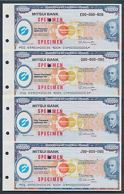 """Japan: 1984 Thos Cook & Mitsui Bank RARE SET OF 4 """"SPECIMEN"""" TRAVELLERS CHEQUES"""