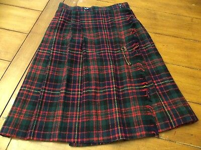 Vintage girl Winter Wool Tartan Plaid Skirt Kilt Pin School Girl Uniform sz 9 10