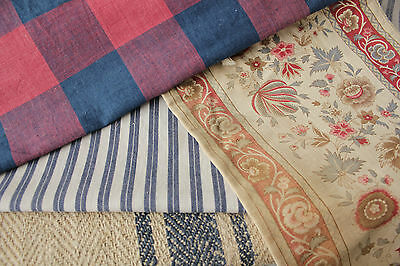 Antique Vintage French fabrics materials  ~ Project bundle  blues reds ~ lovely
