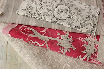 Antique French fabric vintage ticking toile hemp homespun linen piece pillow old