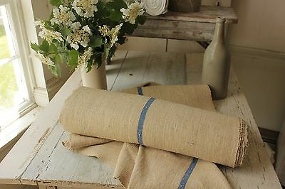 Antique Linen Fabric Bolt Blue Stripe 4 YARDS Upholstery weight nubby material