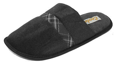 Coolers Mens Plaid Check Strip Design Lined Mule Slippers - Black - 11-12 UK