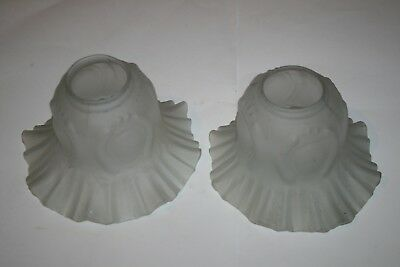 Pair of Vintage Matching Frosted Clear Glass Light/Lamp Shades Frilled Edges Old