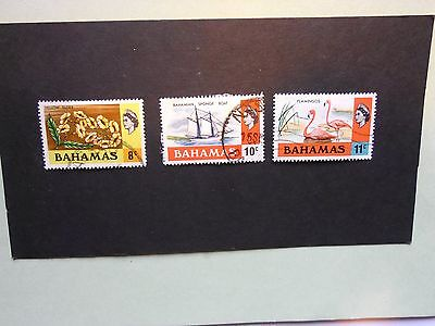 BAHAMAS: 1971 Three values 8cts to 11cts Ww12 VFU btwn Sg366/68