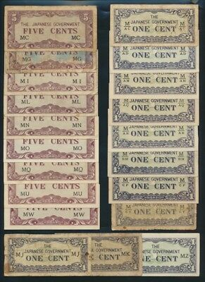 "Malaya: JAPANESE INVASION WWII 1942 1c to $1000 ""COLLN 69 DIFFERENT"". PM1a-M10b"