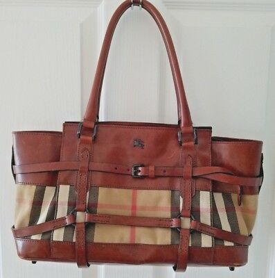 d041b7e2659 BURBERRY BROWN LEATHER Bridle House Check Canvas Medium Tote Bag ...